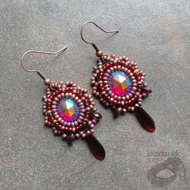 items similar to bead embroidered cabochon earrings