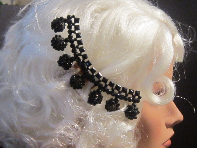 Vintage Art Deco Black Hair Comb