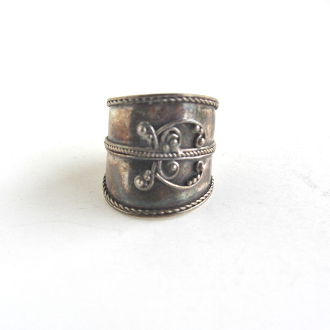 wide sterling silver ring cigar band ring vintage by lucra