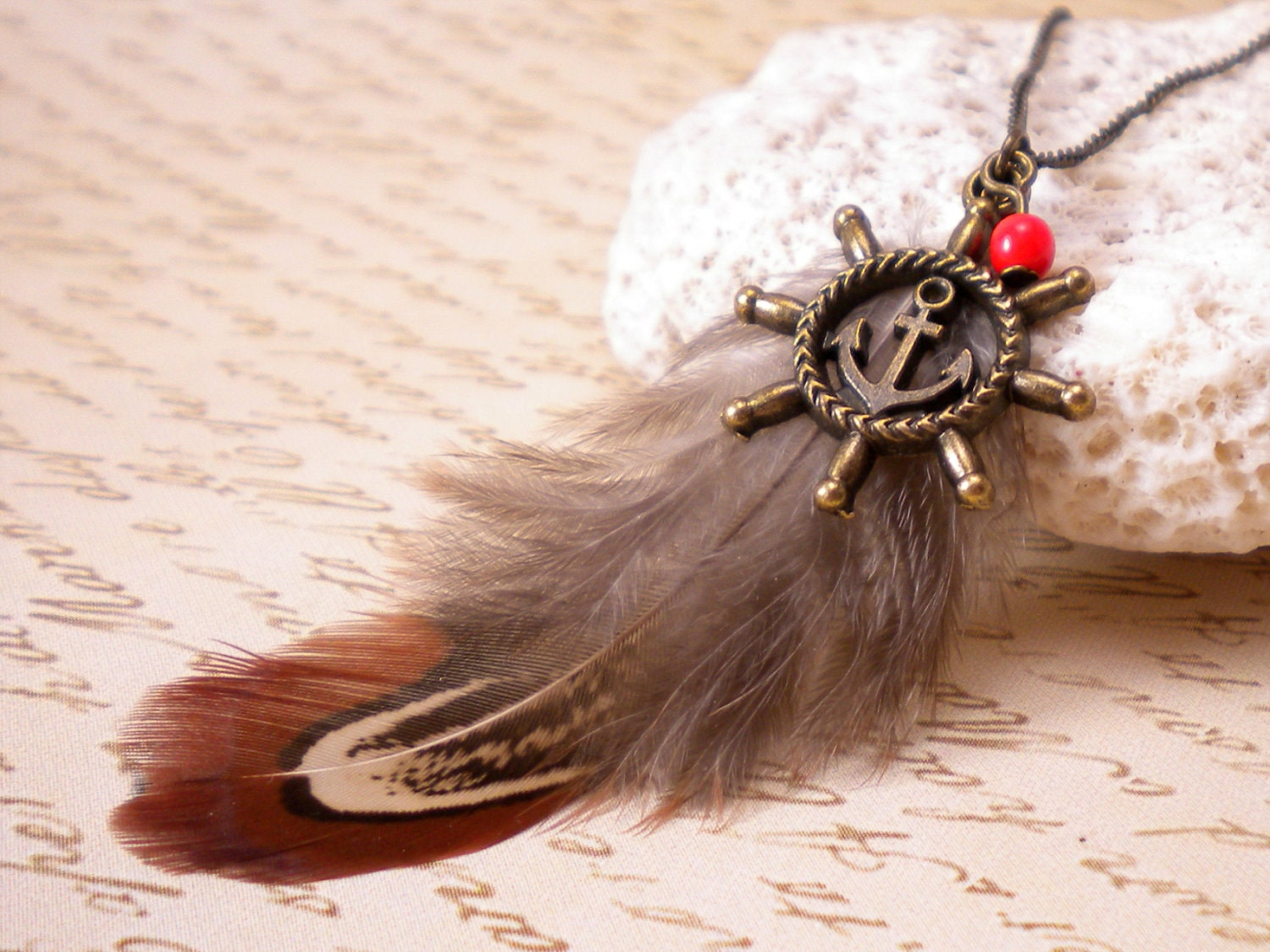 Nautical Tangerine Feather Necklace