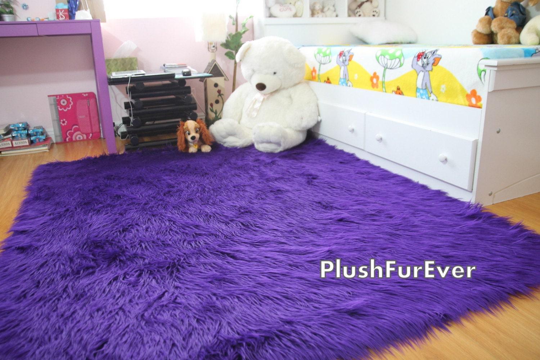 8 39 X 10 39 Purple Mongolian Fur Faux Fur Rug By PlushFurever On Etsy