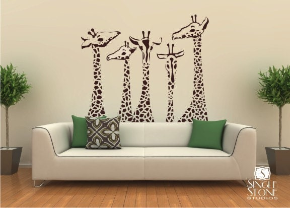 Etsy Family Wall Decor : Giraffe wall decals family by singlestonestudio