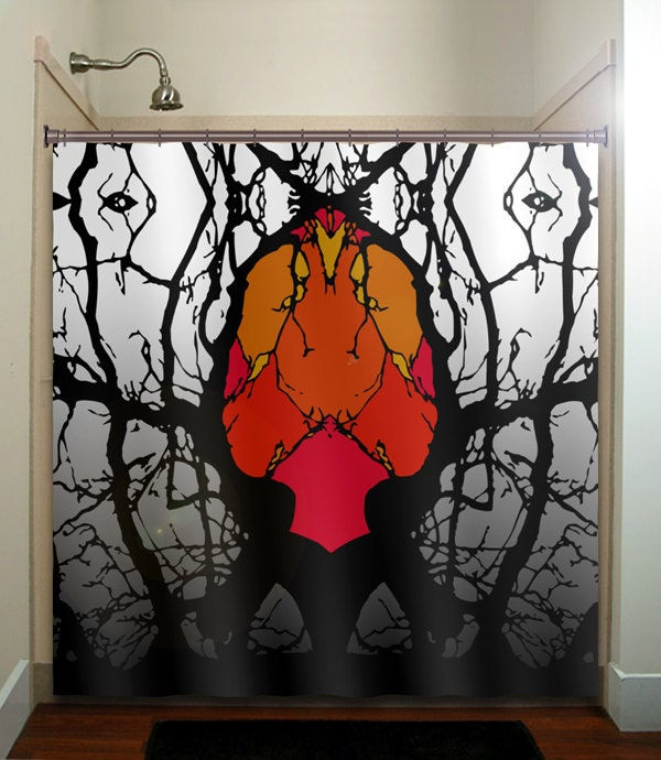 Heart tree forest monster macabre shower curtain by for Forest bathroom ideas