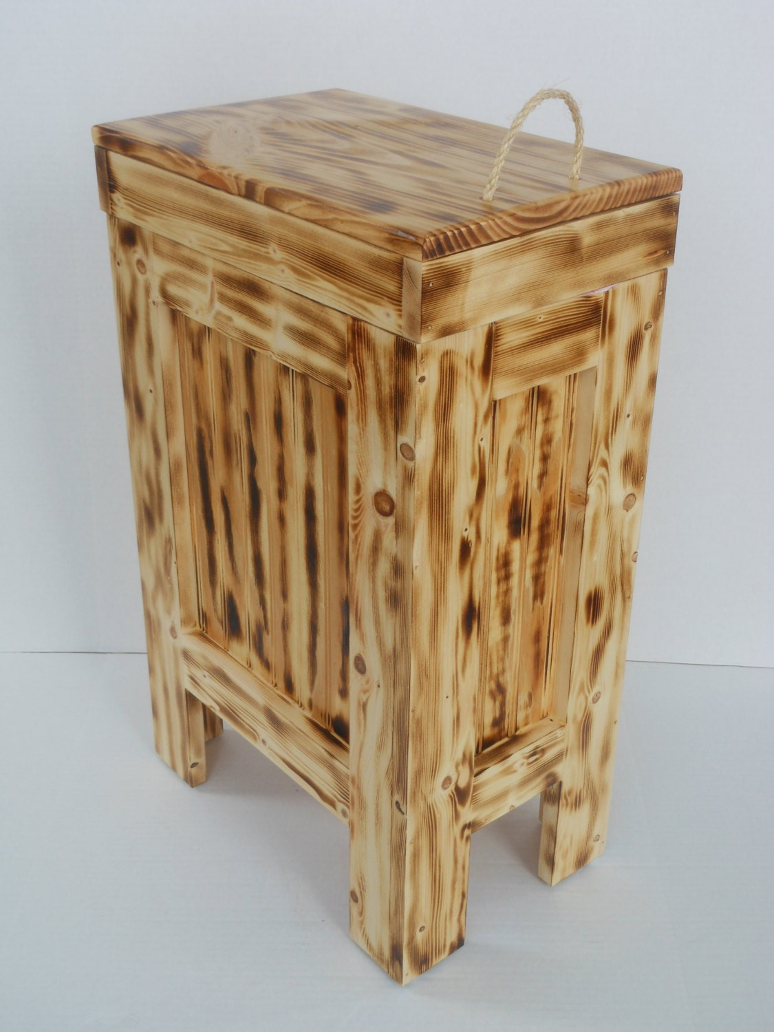 Rustic Wood Wooden Cabin Kitchen Garbage Can By Buffalowoodshop