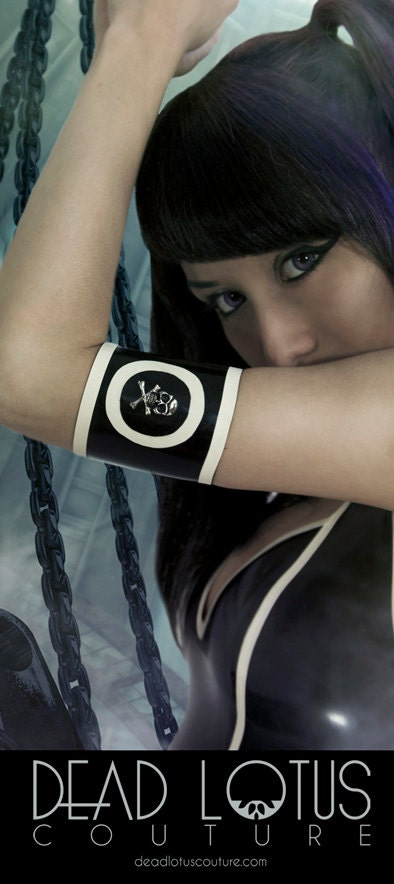 ROKKU latex  accessory ARMBAND with skull - DeadLotusCouture
