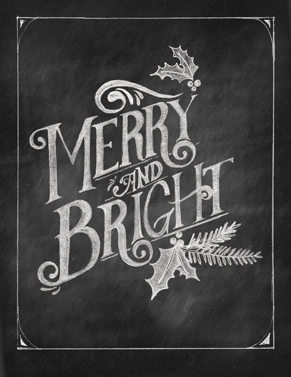 Items similar to Merry & Bright Chalkboard Art Printable ...