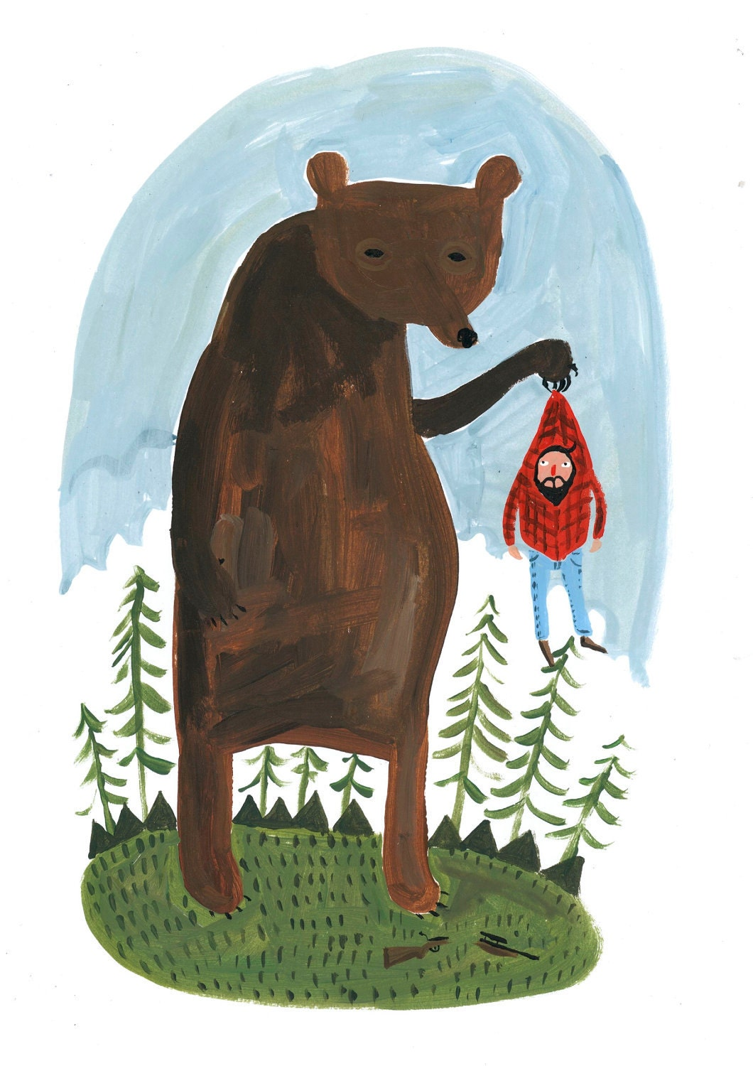 A4 Hunter and Bear print. 1/2 price Second. - RobMasonArt