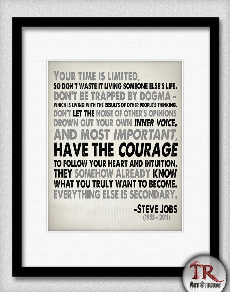 Steve Jobs Quote In Black And Grey Your Time Is By Trprints