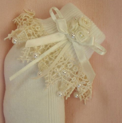 Baby Christening Socks  Antique Style Ivory Lace  Pearl Trim  Amelie