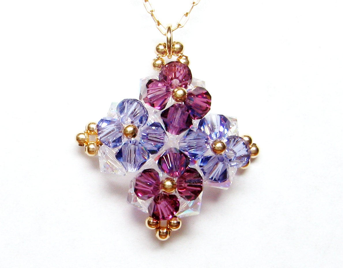 purple flowers necklace, swarovski crystal pendant, with gold filled necklace - kessef