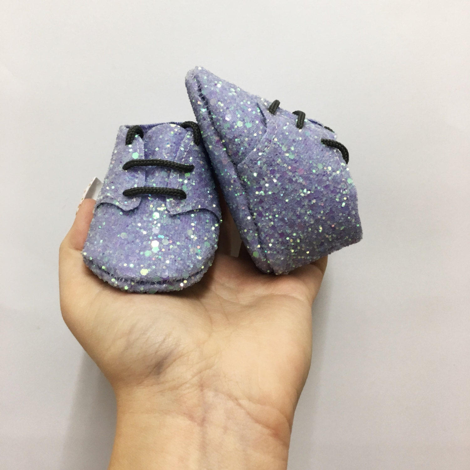 Baby booties  unique shimmery lilac glittery fabric  unisex  pre walker  first shoes  handmade  cot shoes  original