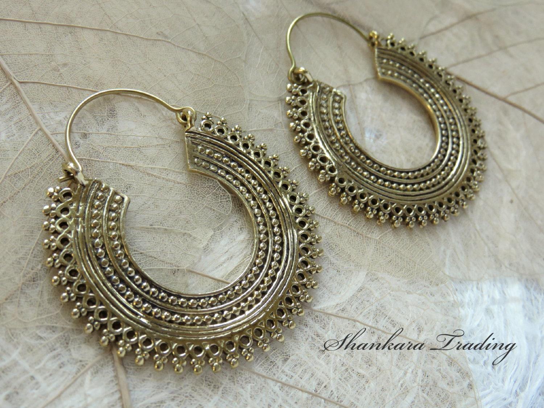 Tribal Hoop Earrings Indian Brass Earrings Tribal Jewellery Ethnic Earrings Bohemian Jewelry Gypsy Hoop Earrings Indian Jewellery