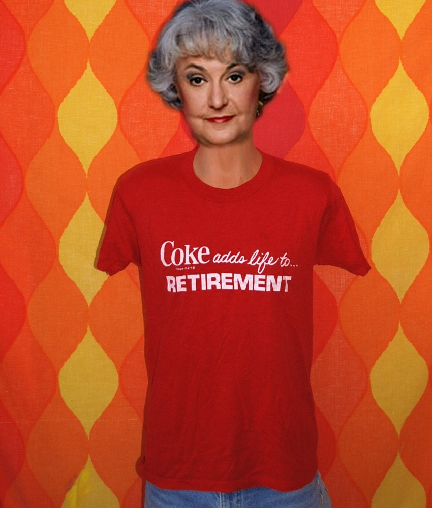 Vintage 70s coke adds life to retirement t shirt l by for T shirt printing nyc same day