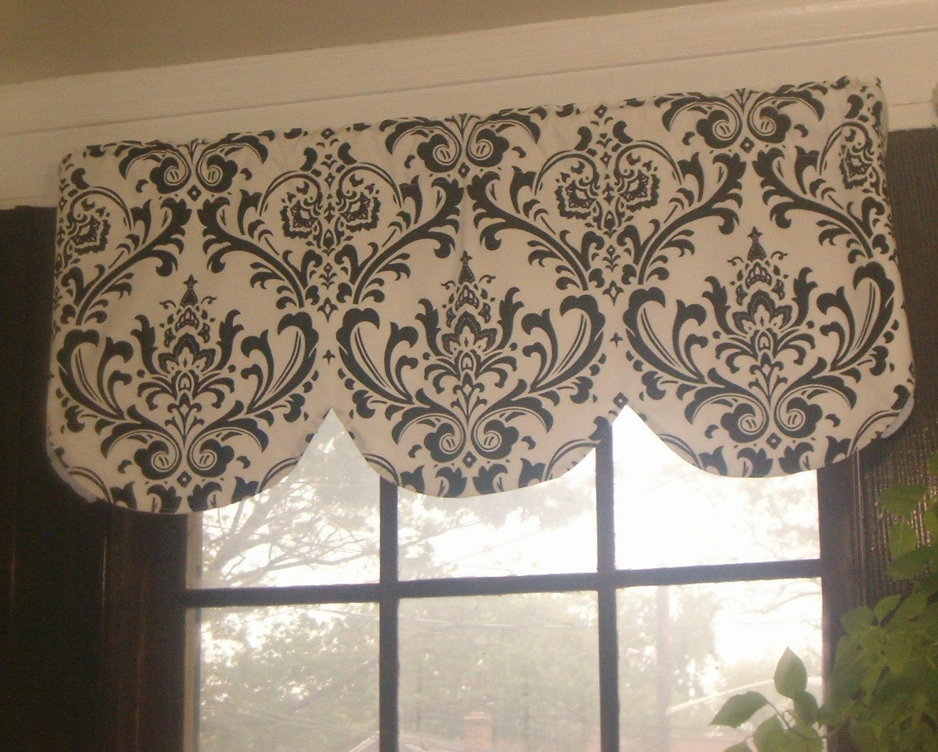 Window curtain valance damask beige brown by for Beige damask curtains