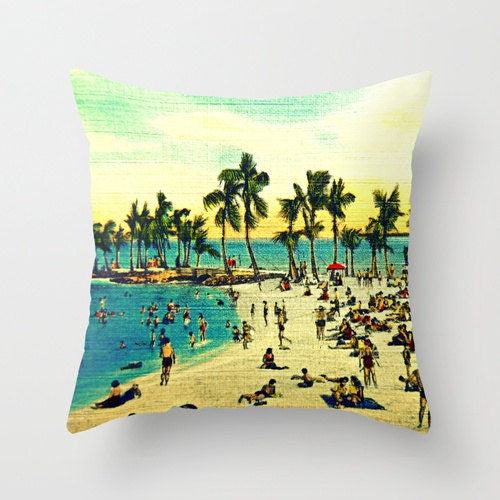Beach Scene Throw Pillows : Decorative Pillow Beach Scene Throw Pillow Cover by VintageBeach