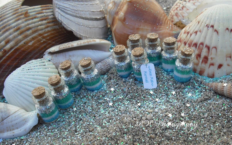 Mermaid Favors set of 10 Ocean Mist Mermaid jars, Mermaid Party Favors, blue, green, silver, aqua, teal, mint - thesetinytreasures