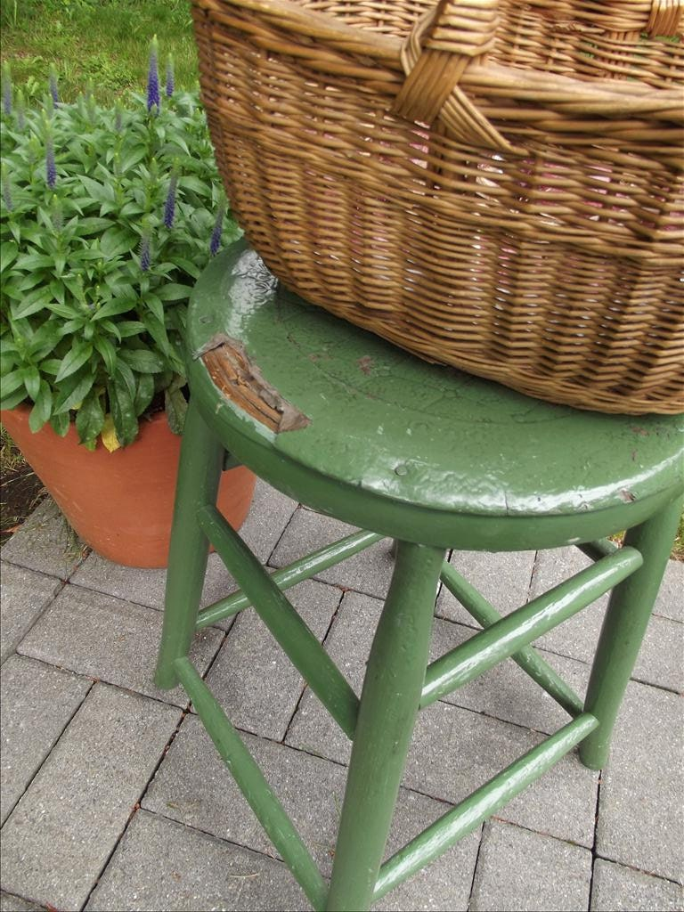 Green Painted Swedish Stool - OldSchoolSwede
