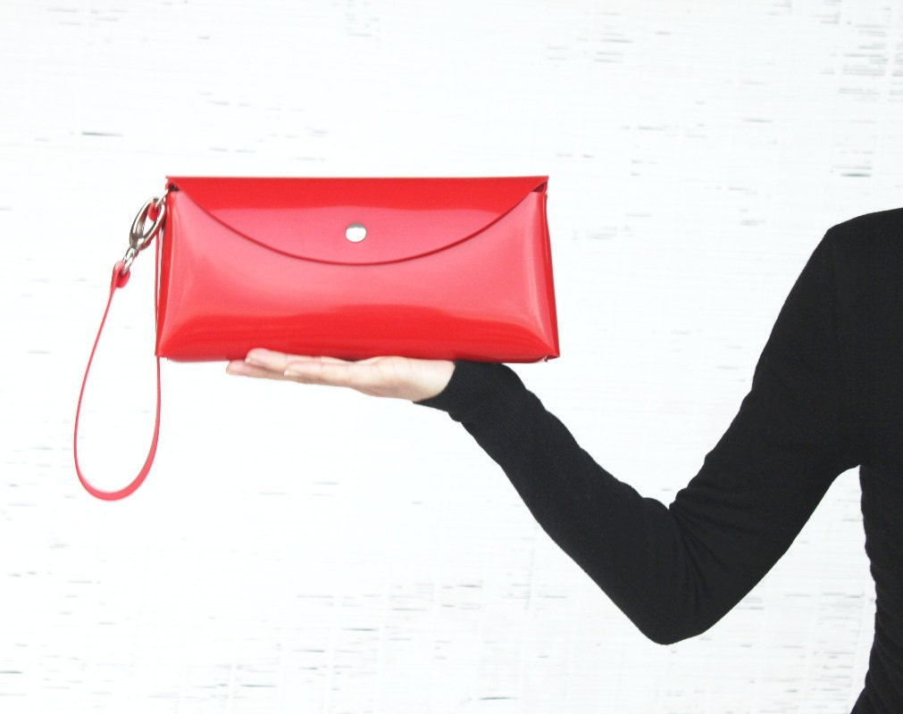 Women's handmade handbag. Red clutch wristlet.Shoulder purse - DGhandmade