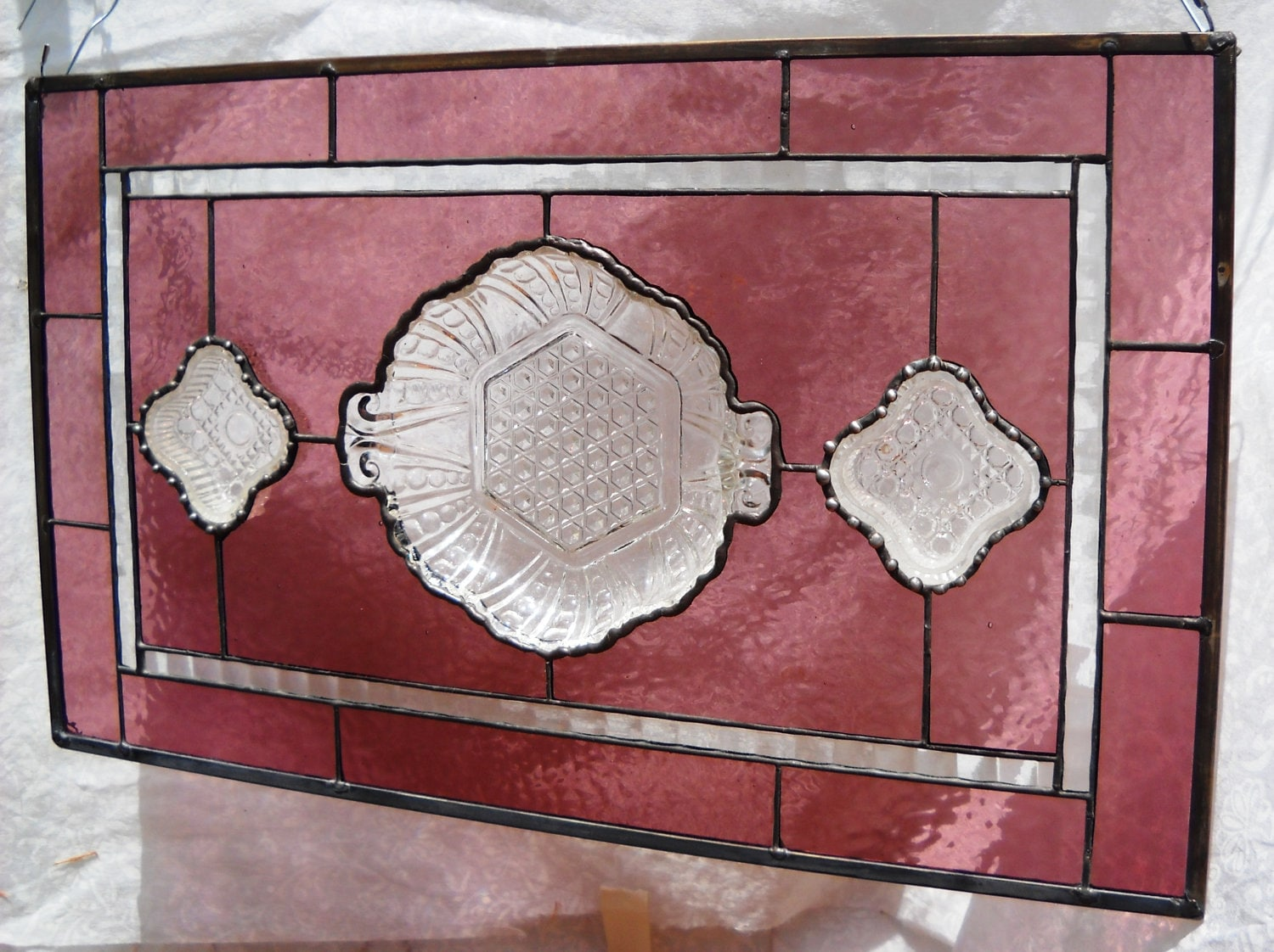 1940s stained glass window plate panel with by heritagedishes for 1940s window treatments