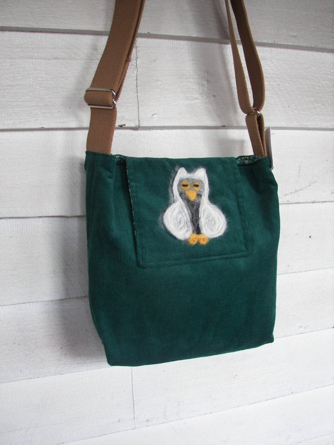 white owl on forest green corduroy (felted owl flap bag) - ThinkGreene