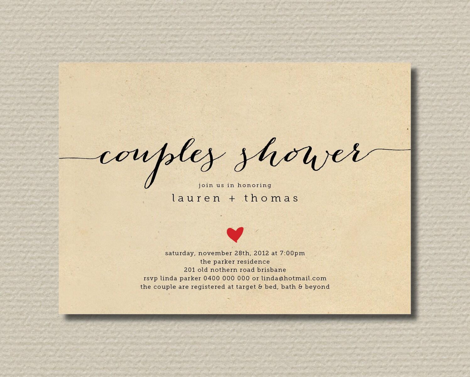 Printable Couples Shower Invitation Simple & by rosiedaydesign