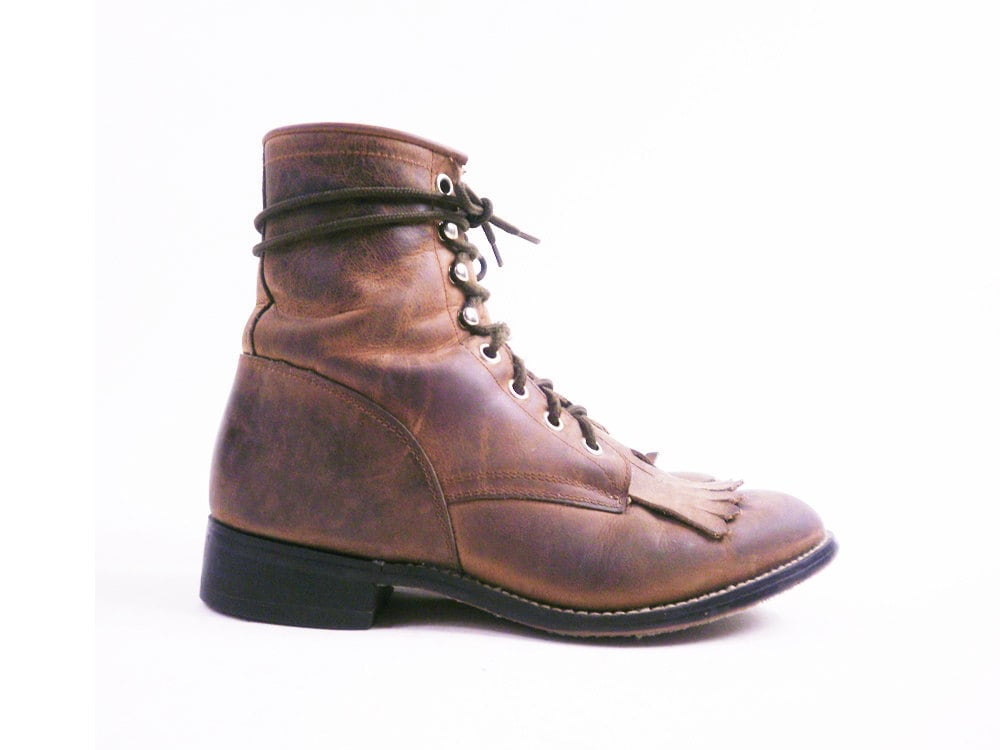 vintage distressed brown leather combat boots by