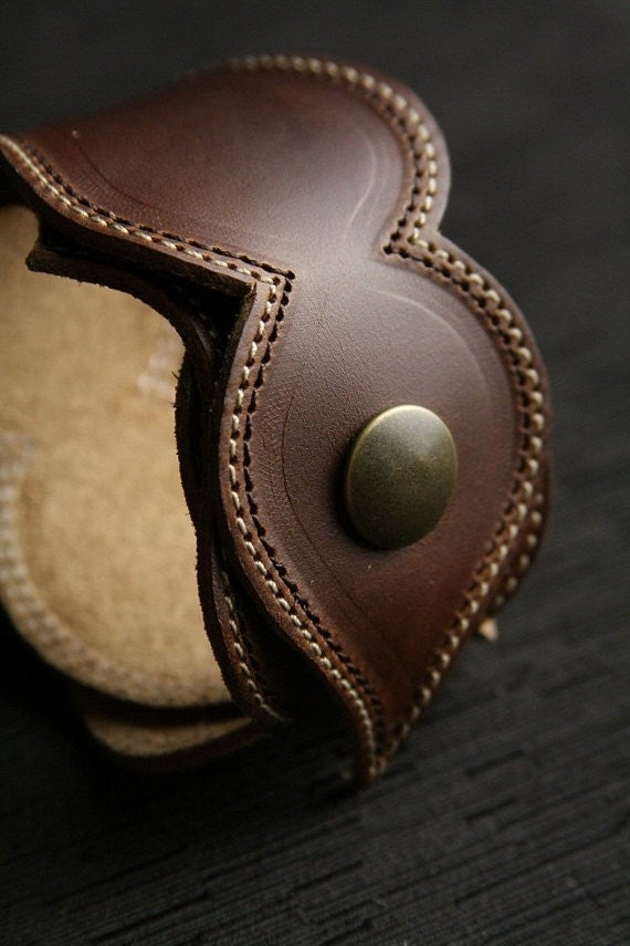 leather bracelet leather cuff womens brown by
