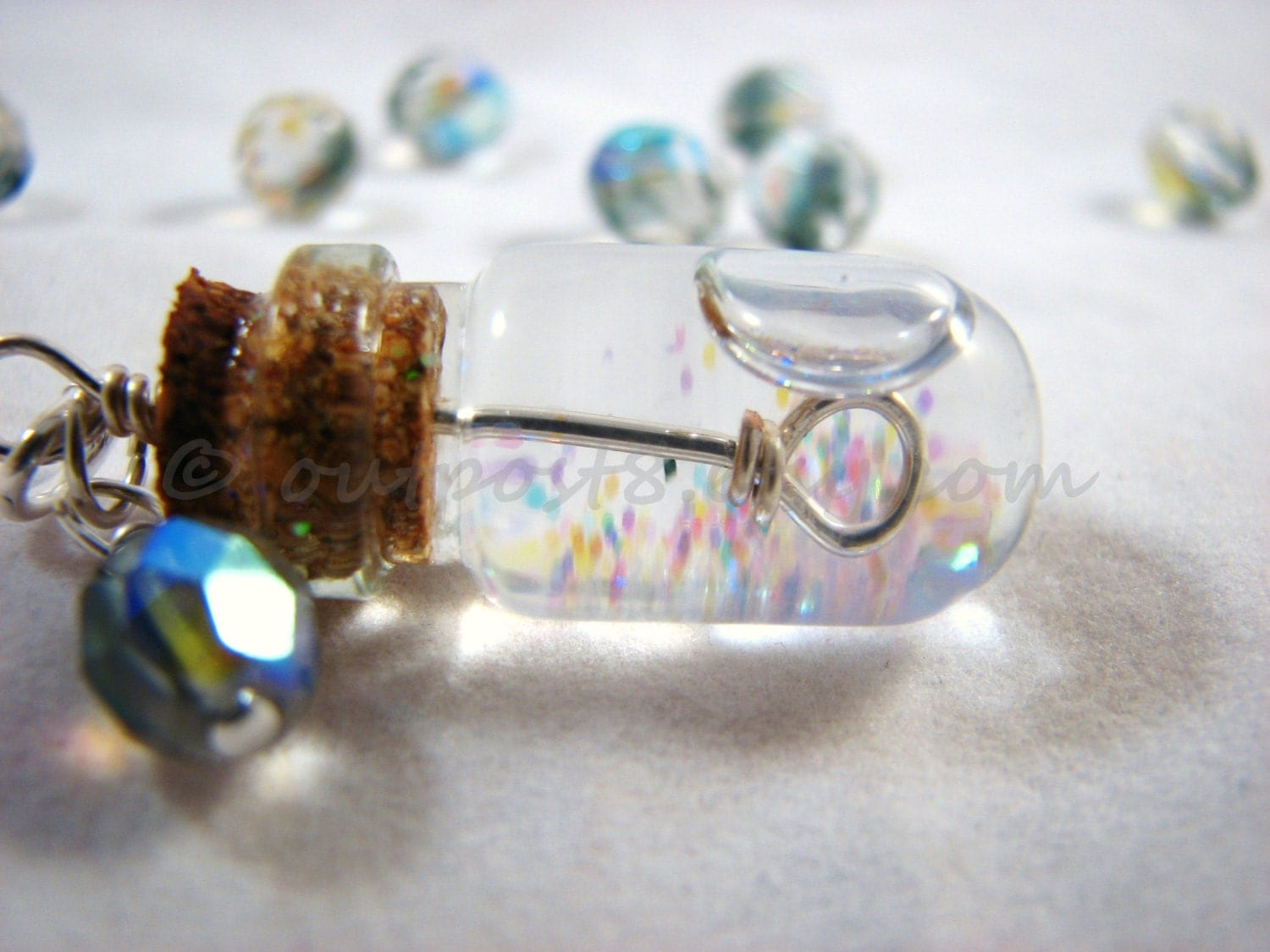 Tiny bubble soap glass bottle necklace. Bubble wand. Kawaii jewelry. Free US shipping. - Outpost8