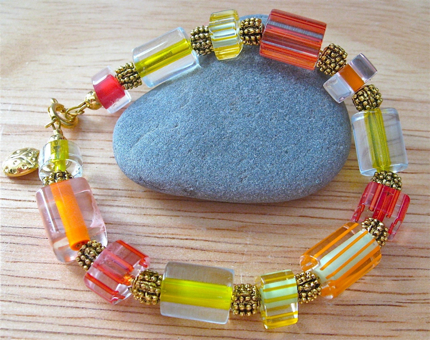 Citrus Color Glass Bead Bracelet - maineladybug
