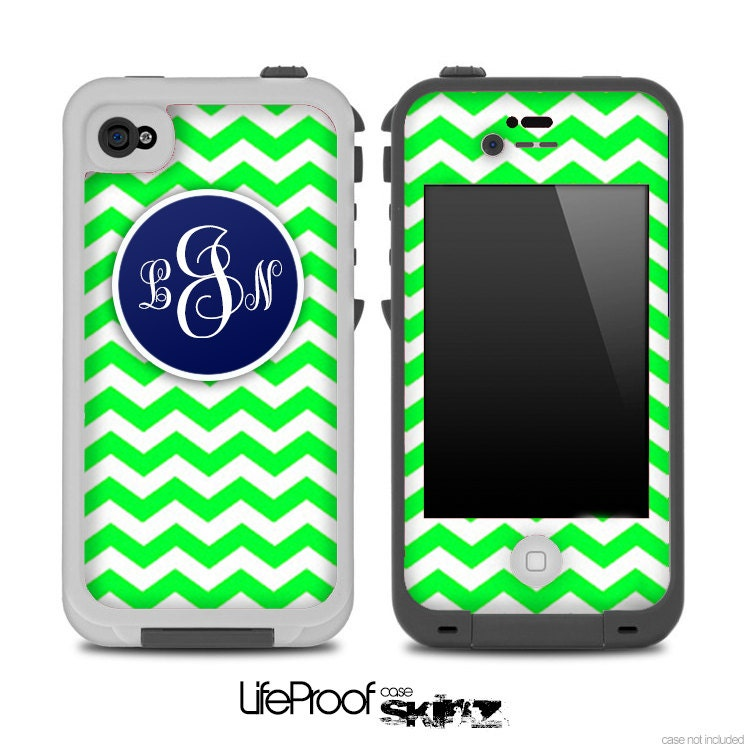 Lime Green and Navy Custom Monogram Chevron Pattern Skin for the iPhone 4/4s or 5 LifeProof Case