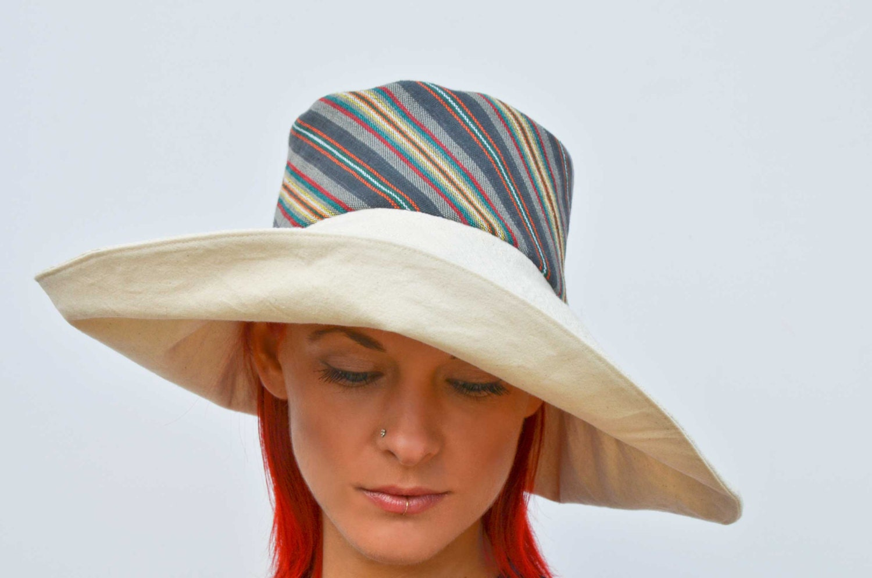 Wide brim cream hat summer hat floppy hat reversible hat foldable sunhat travel hat grey hat guatemalan cotton hat boho hat retro