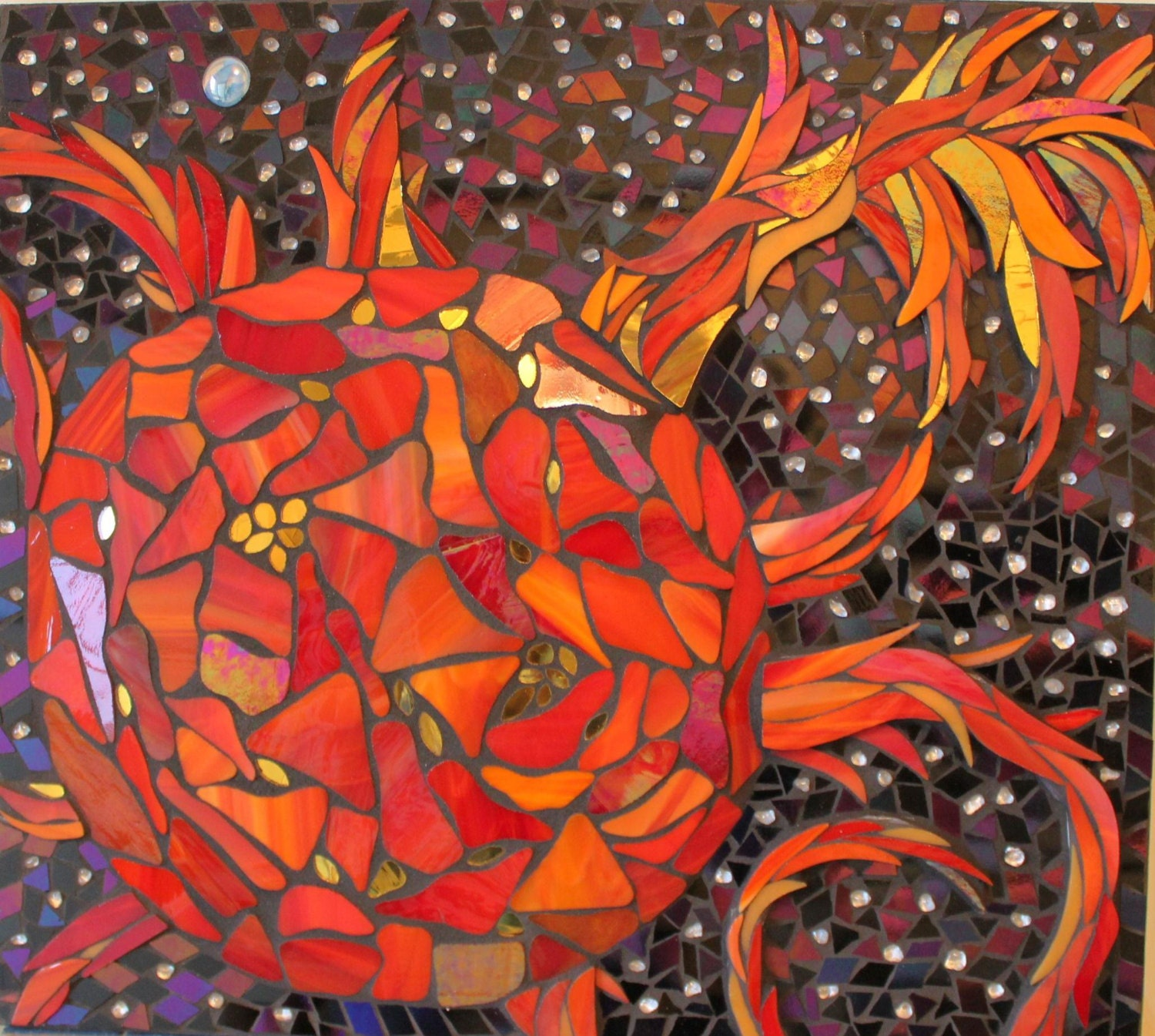 Stained Glass Mosaic Sun, Earth, Cosmos, Space, Solar Flares, Red - GlassArtsStudio