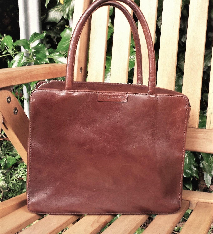 Vintage Karen Millen boxy tote bag brown leather purse Vintage brown leather Karen Millen satchel Purse