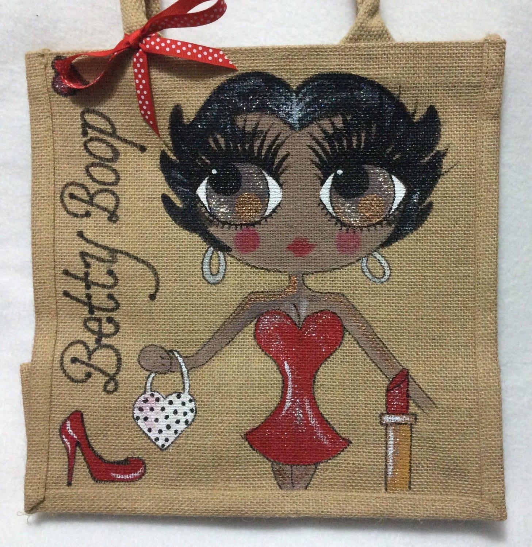Handpainted Personalised Black Betty Boop Jute Handbag Gift Bag Hen Party Celebrity Style