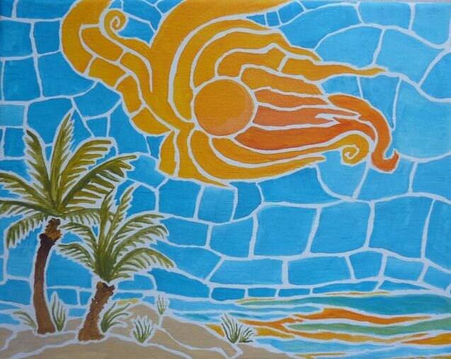 Mosaic Ocean Scorpion Sun Painting - cidezines