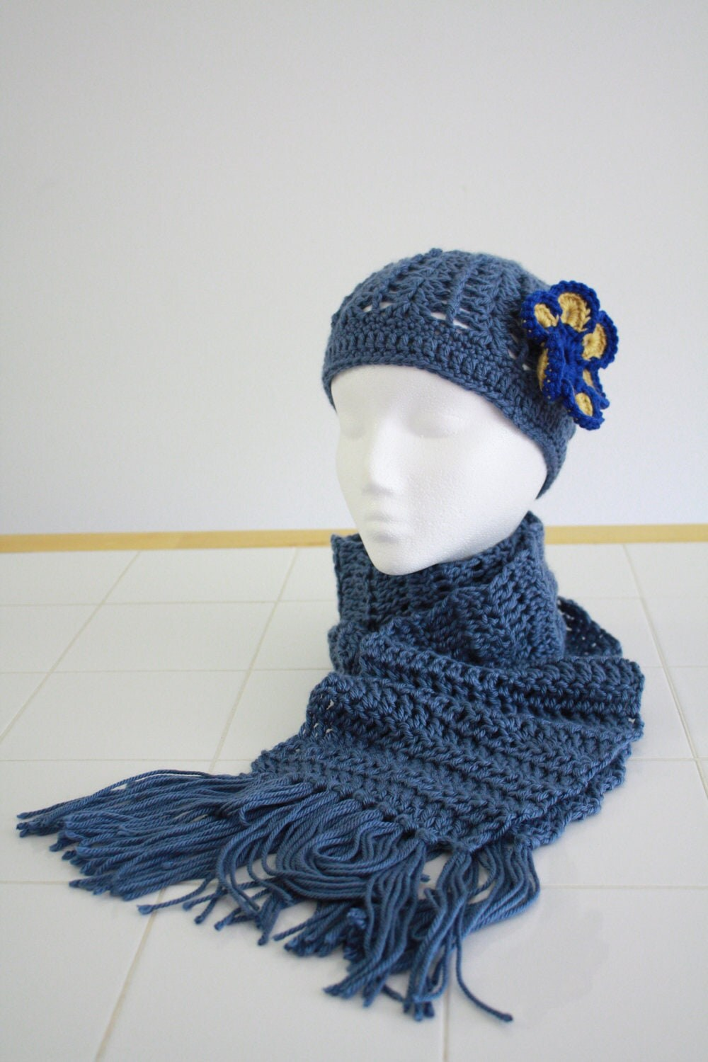 Blue Crochet Hat with Matching Scarf by TiasCrochetCreations Crochet Scarves And Hats