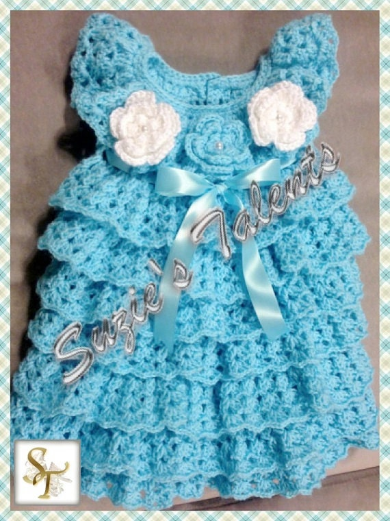 Crochet Ruffled Baby Dress Pattern : Items similar to Crochet Baby Dress, Crochet Baby Layers ...