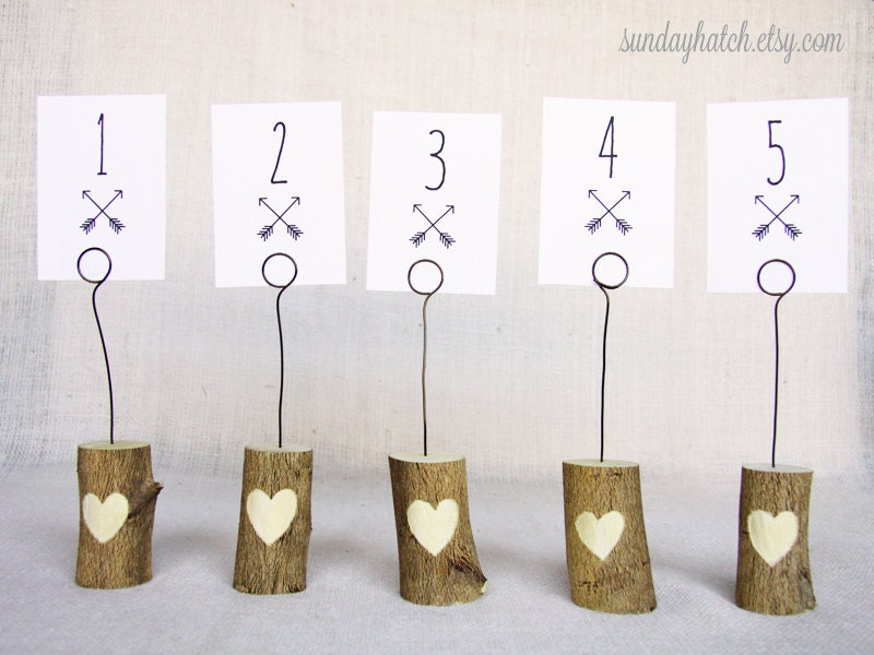 Items similar to wooden table number holders set of 5 for Table number holders