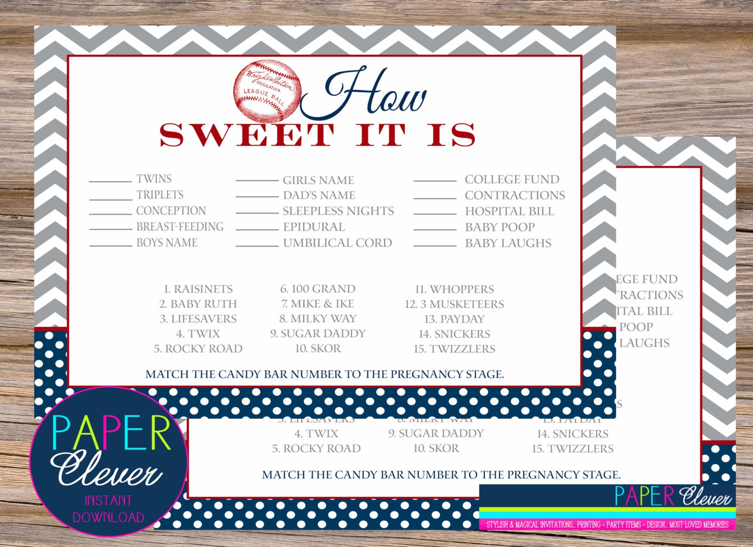 baseball candy bar stages baby shower games navy blue and red