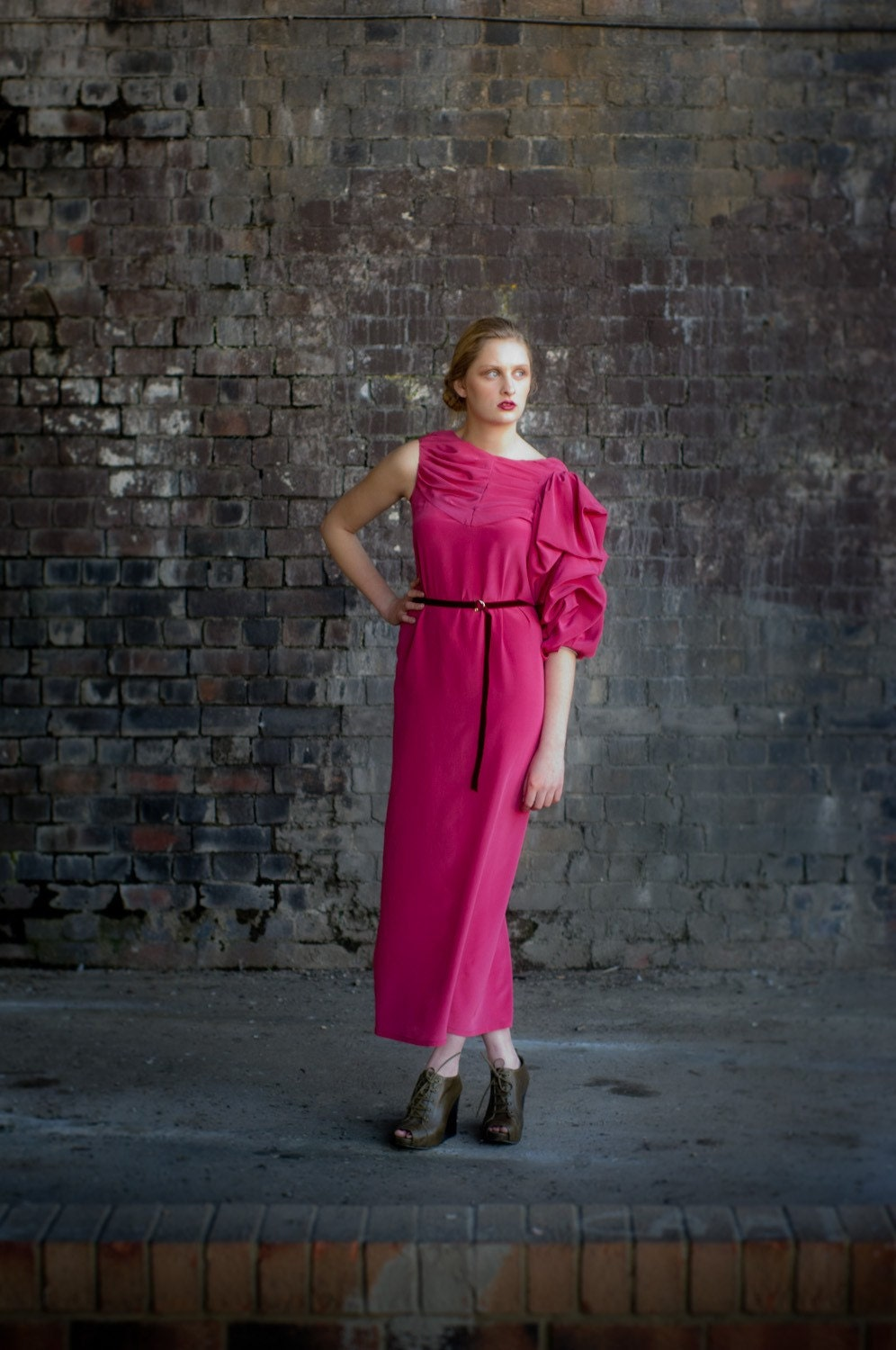 Sample Sale:Pink Jane Assymetric Maxi Tunic Dress with Belt - annapopovich