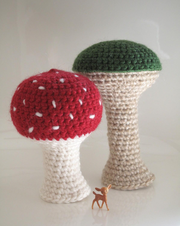 Amigurumi Mushroom Crochet Patterns : Items similar to two amigurumi mushrooms - two crochet ...