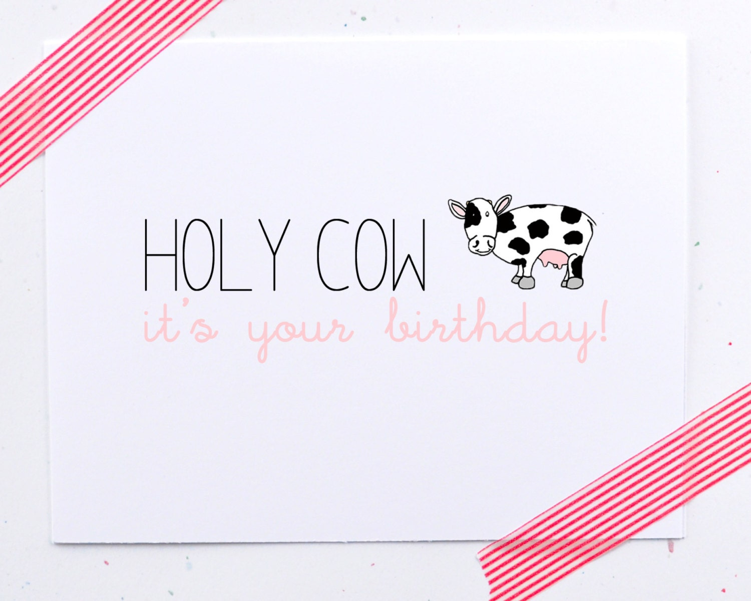 Happy Birthday card. Holy cow it's your birthday. pink, little sloth card - LittleSloth