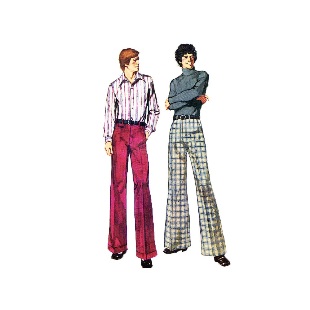 1970s sewing pattern mens bell bottom pants cuffed straight leg pants