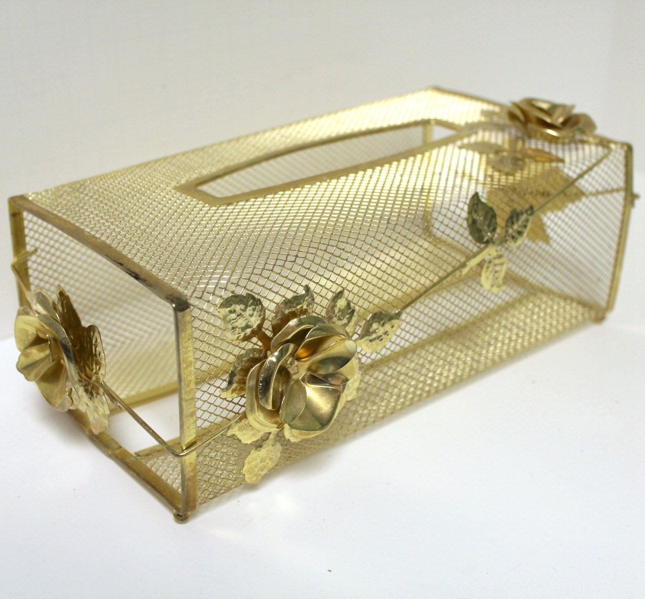 Vintage fancy brass finish vanity tissue box cover