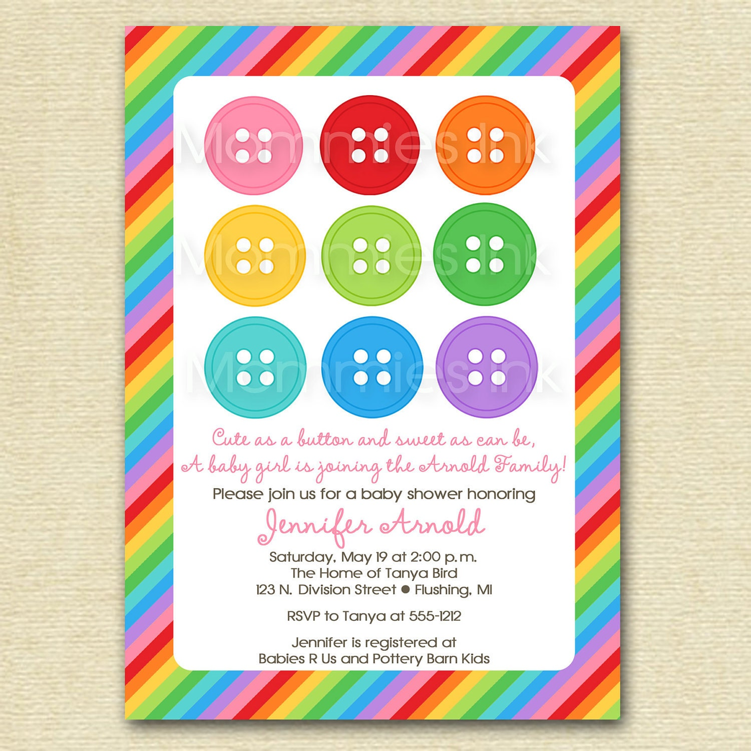 rainbow cute as a button baby shower invitation by mommiesink
