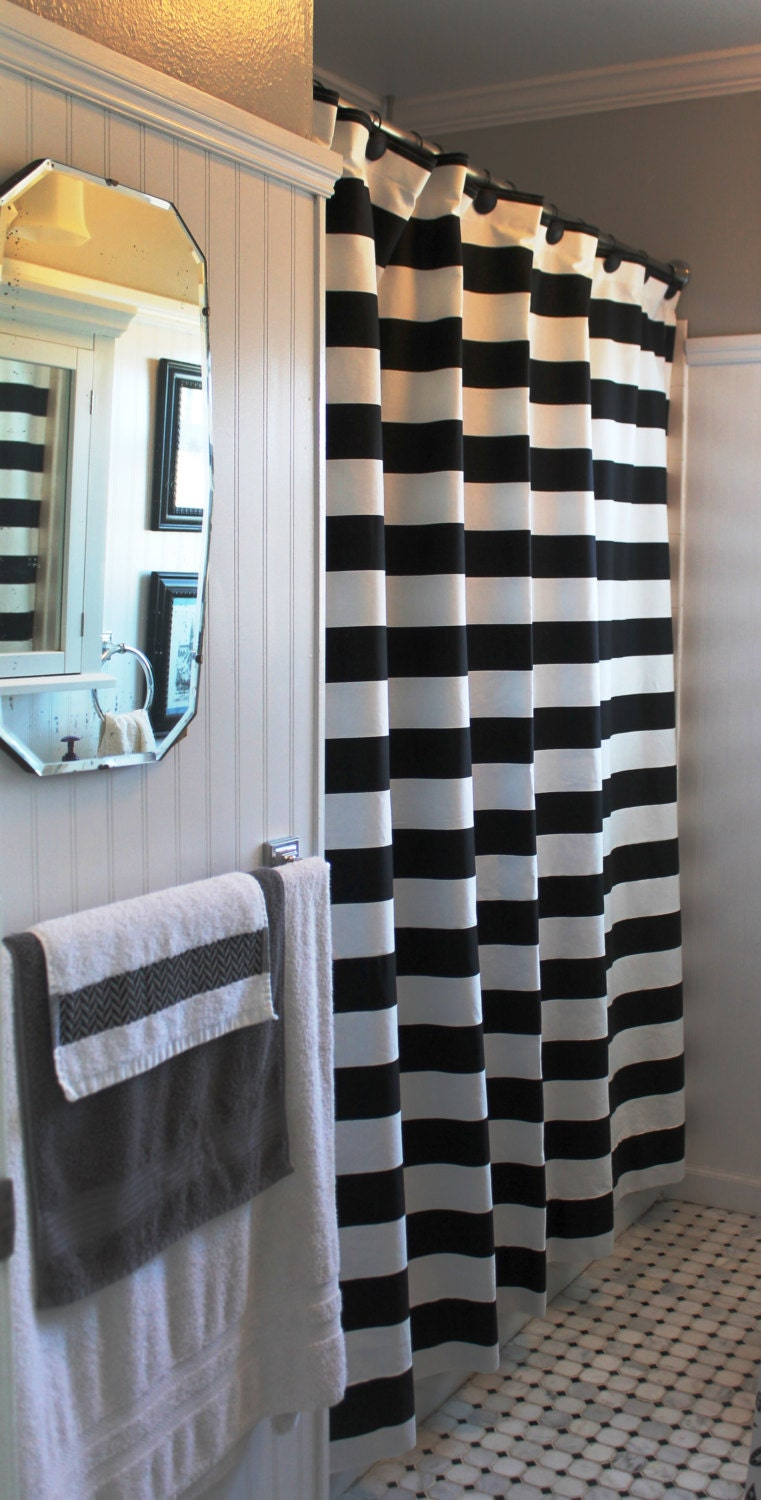 3 Black And White Horizontal Stripe Shower By Lafortunelinens