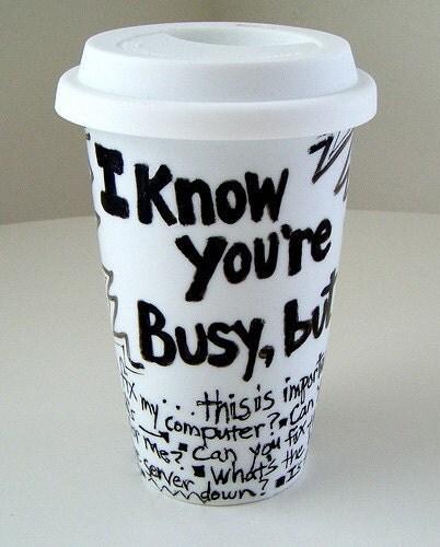 Techie Ceramic Travel Mug Eco Coffee Cup Black White By