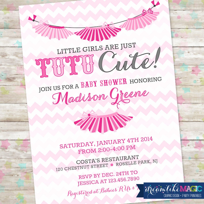 tutu cute digital printable shades of pink tutus baby shower invite