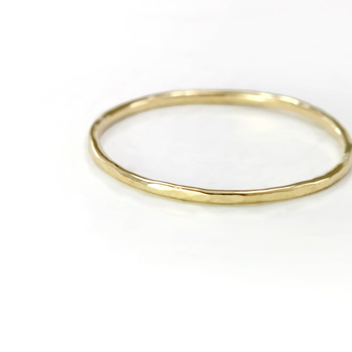 thin 14k gold ring delicate hammered band by