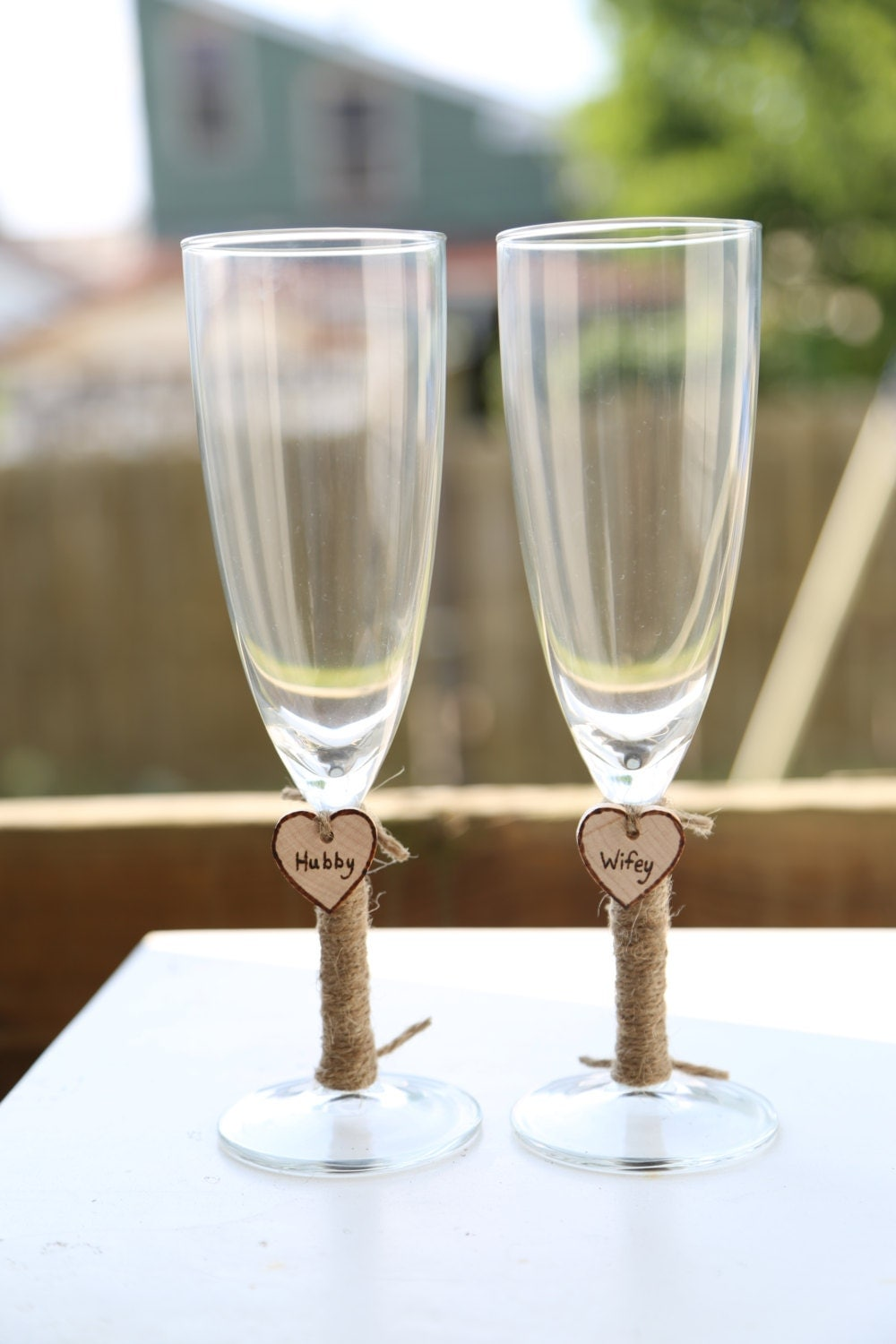 personalized wedding glass flutes charm by knoxprophotography